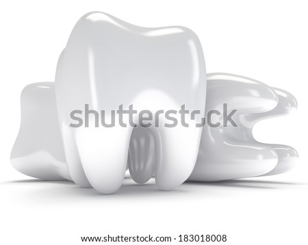 Teeth isolated on white background. 3D render. Dental, medicine, health concept. - stock photo