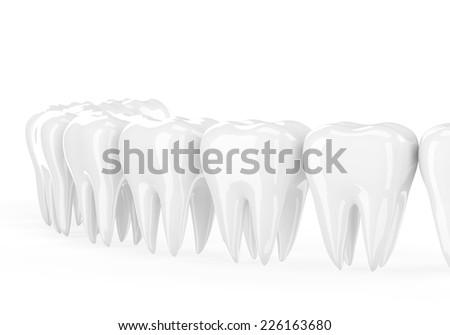 teeth on white - stock photo