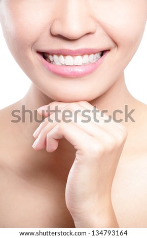 Teeth problem - Beautiful young woman teeth close up with hand in question mark shape . concept for teeth health problem, asian beauty model