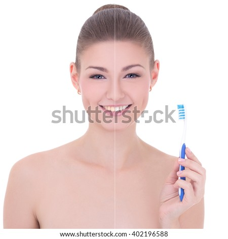 teeth whitening concept - portrait of young beautiful smiling woman with tooth brush isolated on white background - stock photo