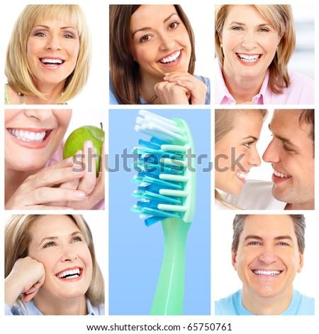 teeth whitening, tooth brushing, dental care - stock photo