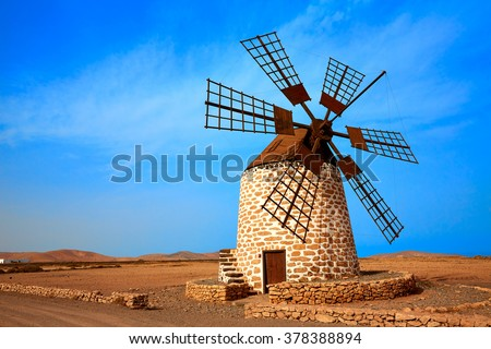 Tefia windmill Fuerteventura at Canary Islands of Spain - stock photo