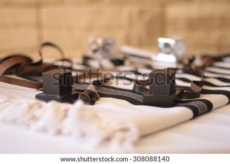 Tefilin and   Talit - Jewish prayer objects - stock photo