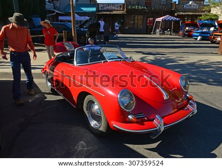 TEHACHAPI, CA - AUG 16, 2015: An outstanding original example of a 1960 Porsche 356B roadster is on display today at the Thunder on the Mountain Car & Truck Show. - stock photo