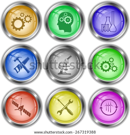 Tehnology set. Raster internet buttons. - stock photo