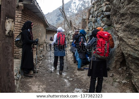 TEHRAN - FEBRUARY 22: Tourists visit mountains in Darband quarter on February 22, 2013 in Tehran, Iran. Tehran is Iranian capital with a population of about 8,300,000.