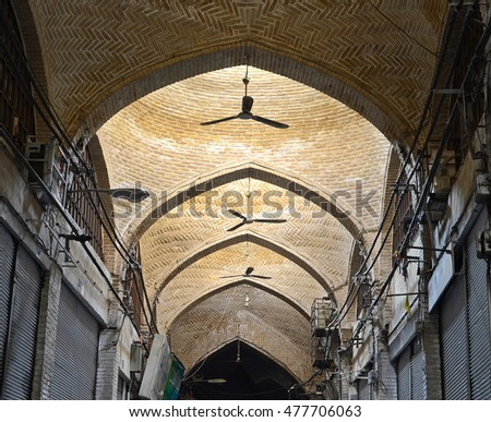 TEHRAN, IRAN - December 30, 2012:  Renovated ceiling of one of Tehran historic grand bazaar corridor.