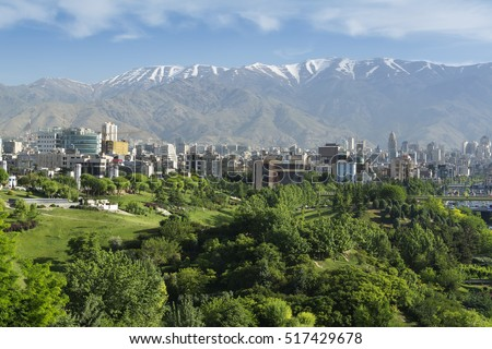 TEHRAN, IRAN - May 14, 2016: A view of Northern area of Tehran, capital city of Iran, from Ab-o-Atash park, with the Alborz mountain chain in background.