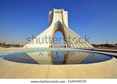 TEHRAN -Â?Â? OCTOBER 18: Azadi Tower on October 18, 2013 in Tehran. Azadi Tower was constructed in 1972 to commemorate the 2500th anniversary of the Persian empire. - stock photo