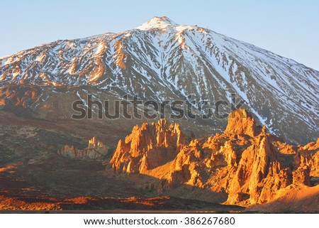 Teide and Roques de Garcia at sunset, Teide National Park, Tenerife, Spain - stock photo
