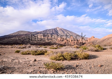 Teide National Park in Tenerife at Canary Islands - stock photo