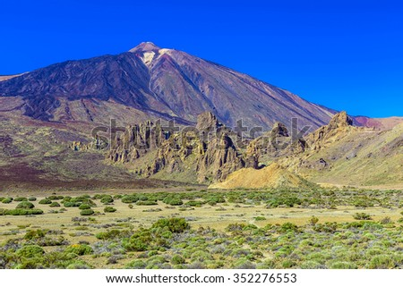 Teide Volcano Landscape in National Park on Tenerife Canary Island in Spain at Day