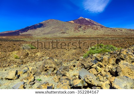 Teide Volcano Landscape in National Park on Tenerife Canary Island in Spain at Day with Blue Sky