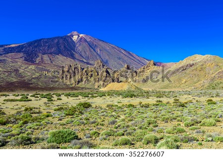 Teide Volcano Landscape in National Park on Tenerife Canary Island in Spain at Sunny Day