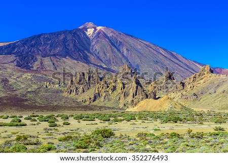 Teide Volcano Landscape in National Park on Tenerife Canary Island in Spain at Sunny Day with Sky