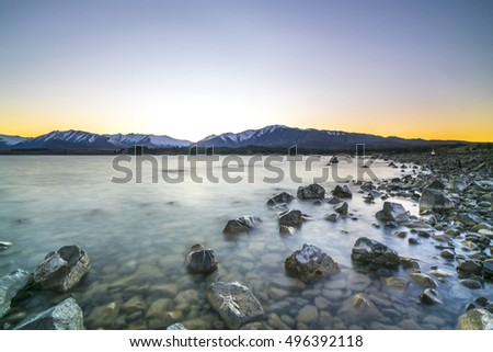 Tekapo lake with sunrise view