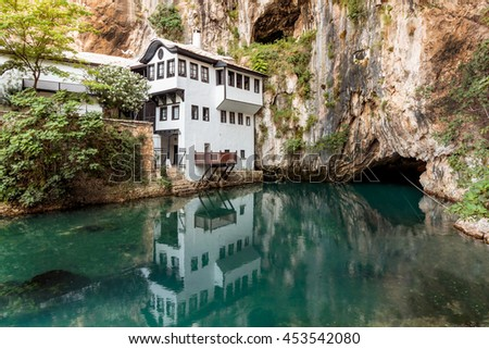 Tekija (Tekke) Blagaj Dervish house, important monument of the early Ottoman period in Bosnia and Herzegovina