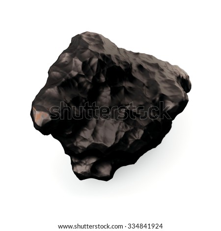 Tektite Meteorite on the white background. 3d illustration