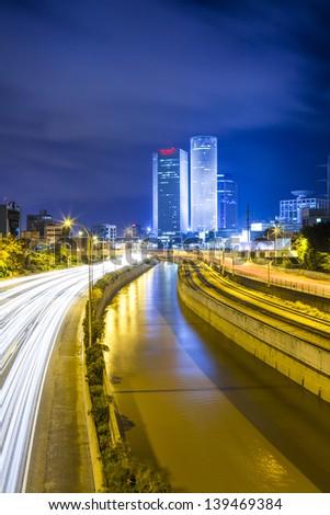 Tel At Night - Traffic on Ayalon Freeway - stock photo
