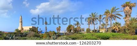 Tel Aviv and Old Yaffa city public park panoramic view. Israel - stock photo