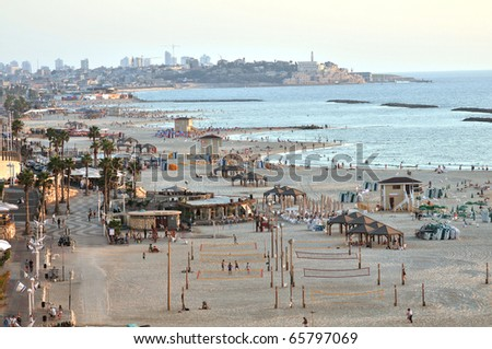 Tel Aviv Beach, looking from north to south, Israel