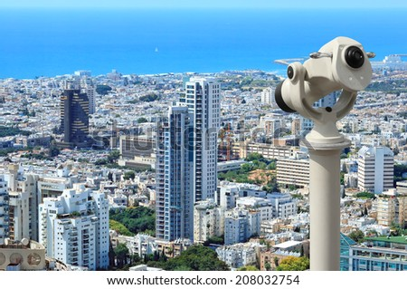 Tel-Aviv city coastline view from above with telescope (Mediterranean sea. Israel) - stock photo