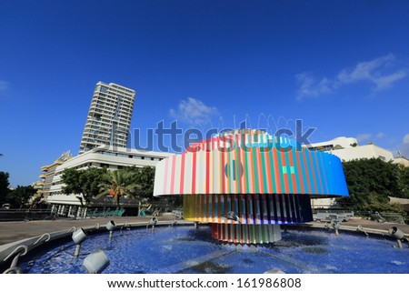 Tel Aviv: Dizingof square fountain - stock photo