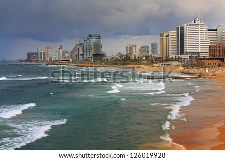 Tel Aviv in January - stock photo
