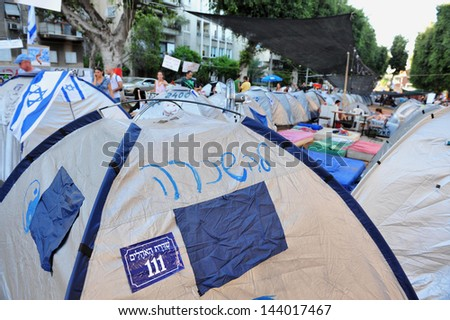 TEL AVIV, ISR - JULY 28:The protest compound on Rothschild Boulevard on July 28 2011.In summer 2011 hundreds of thousands of Israelis opposed the rise in the cost of living in Israel.