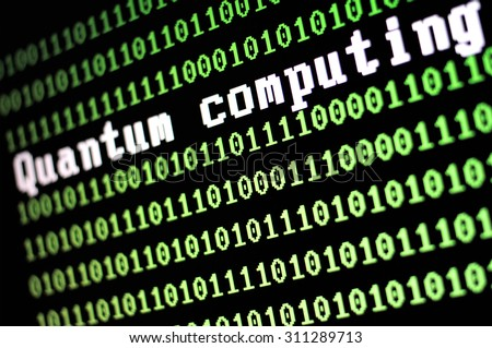 TEL AVIV, ISRAEL - AUG 29, 2015: Computer screen with quantum computing logo with a binary computer code background on a black background- illustration. Selective focus