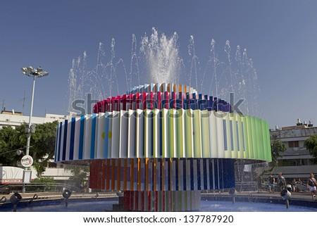 TEL AVIV, ISRAEL- AUGUST, 1: A modern fountain in dizengoff center in Tel Aviv Israel, on 1 August, 2012 - stock photo