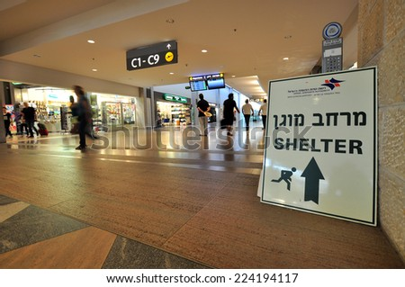 TEL AVIV, ISRAEL - AUGUST 19: Information sign about shelter during war in Gaza in the Ben Gurion Airport on 19th August, 2014 in Tel Aviv in Israel. Ben Gurion Airport is the bigest airport in Israel