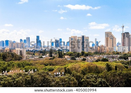 TEL AVIV, ISRAEL - CIRCA MARCH 2015: Clouds  Over City Skyline at Sunny Day