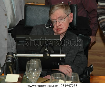 Tel Aviv, Israel, Dec, 12, 2006: Professor Stephen Hawking is visiting Tel Aviv university, and having a dinner with the physics faculty members - stock photo