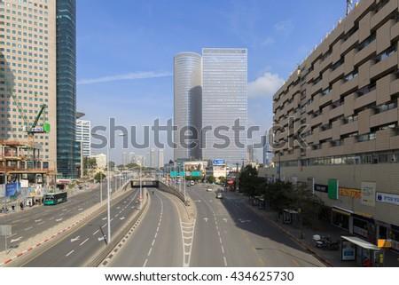 TEL-AVIV, ISRAEL - JANUARY 22, 2016: almost empty Menachem Begin street in Tel-Aviv - stock photo