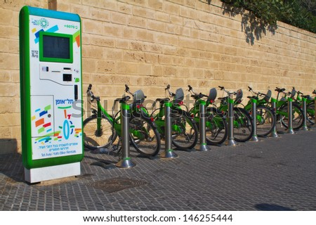TEL-AVIV, ISRAEL - 13 JULY:Tel-O-Fun station on July 13,2013 at Tel-Aviv.Tel-O-Fun is a bicycle sharing service which provided by the city including 125 active stations and more than 1,000 bicycles.
