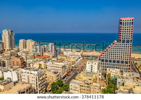 TEL AVIV, ISRAEL - JUNE 18, 2015: Aerial view of the city buildings, beach, riviera and hotels. - stock photo