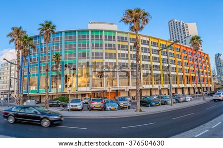 TEL AVIV, ISRAEL - JUNE 19, 2015: Exterior of the Dan Hotel on the beach designed by Yaacov Agam. - stock photo