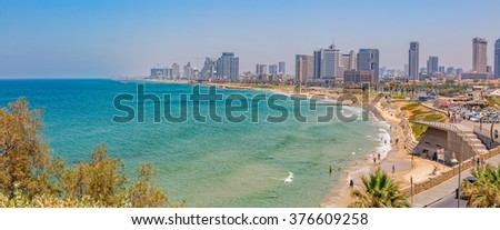TEL AVIV, ISRAEL - JUNE 18, 2015: Morning panorama with a view of the beach, riviera and hotels. - stock photo