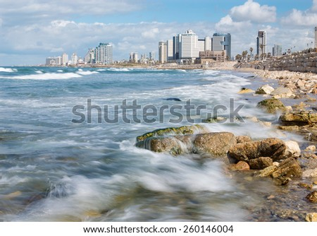 TEL AVIV, ISRAEL - MARCH 2, 2015: The coast of Tel Aviv - stock photo