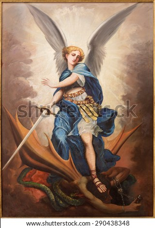 TEL AVIV, ISRAEL - MARCH 2, 2015: The paint of archangel Michael from st. Peters church in old Jaffa by P. Zalarn from end of 19. cent. - stock photo