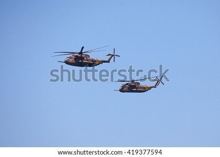 Tel Aviv, Israel - MAY 12, 2016: Army Sikorsky CH-53 performing at the Tel Aviv Air Show dedicated to the Israel's  - stock photo