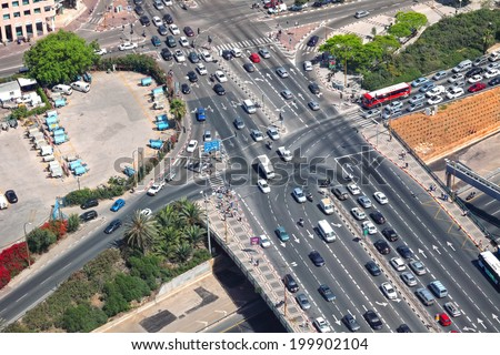 TEL-AVIV, ISRAEL - MAY 22 : Overhead view of urban intersection with exit to highway on May 22, 2014 in Tel Aviv, Israel