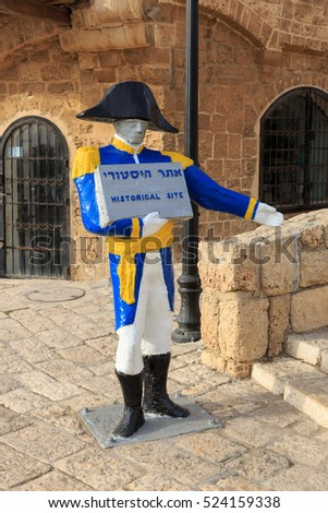 Tel Aviv, Israel - Nov 19, 2016: Statue of Napoleon's soldier in Jaffa with a sign historical site