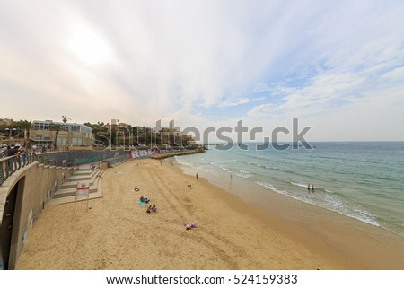 Tel Aviv, Israel - Nov 19, 2016: Wide view to beach and ancient city Jaffa on the Mediterranean Sea