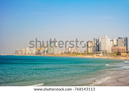 TEL AVIV ISRAEL November 2016: Tel Aviv view of Mediterranean sea and skyscrapers.