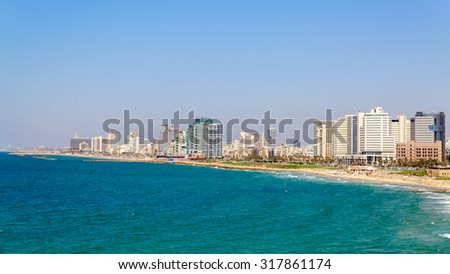 TEL AVIV /ISRAEL - SEPTEMBER 17, 2015, 2014: Panorama of quai in southern Tel Aviv from Jaffa - stock photo