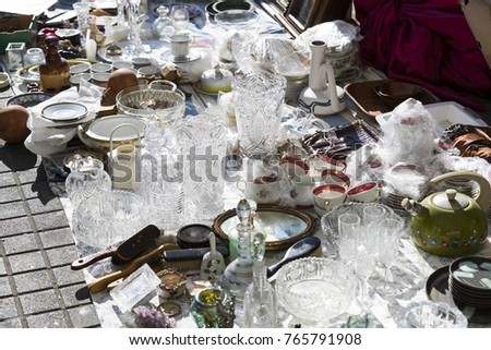TEL AVIV-JAFFA, ISRAEL - 24 NOVEMBER 2017:Street flea market of old things and antiques in the old district of Tel Aviv