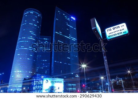 TEL AVIV - June 25: The Azrieli is a complex of skyscrapers June 25, 2015 in Tel Aviv, Israel. The circular building is the tallest in Tel Aviv and 2nd tallest in Israel.  - stock photo