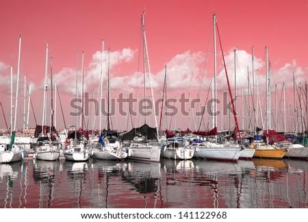 Tel-Aviv marina pink sunrise (Israel) - stock photo